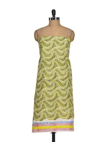 Vibrant Green & Yellow Leaf Print Suit Piece - K22
