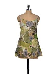 Green Spaghetti Strap Short Dress - Indidori