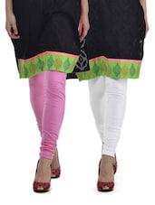 Pink & White Leggings - Set Of 2 - Tulsattva