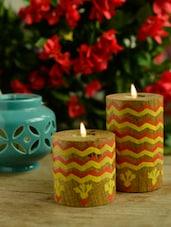 Yellow Laheriya Pillar T-Light Holders - Set Of 2 - Wildflower