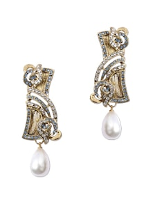 Rectangular Pearl Drop Golden Earrings - KSHITIJ