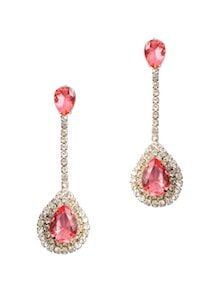 Pink Stone Studded Long Earrings - KSHITIJ