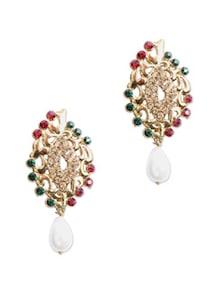 Studded Earrings With Pearl Drop - KSHITIJ