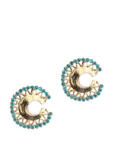 Circular Earrings With Blue Stone - KSHITIJ
