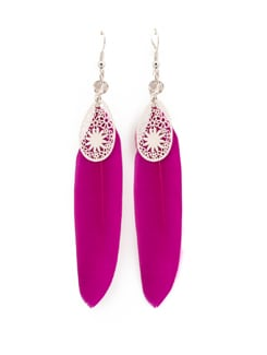 Feather And Silver Charm Earrings - ALESSIA 7029