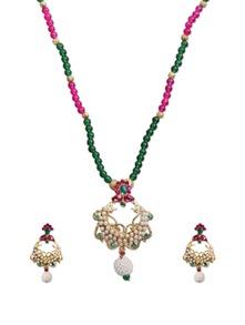 Elite Cream  Green Bead Necklace Set - KSHITIJ