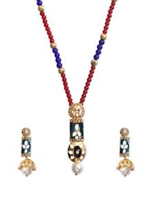 Blue Heavenly Pendant Necklace Set - KSHITIJ