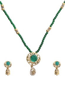 Green Beaded Necklace Set - KSHITIJ