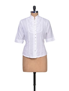 Pristine White Cotton Shirt - A Justbe