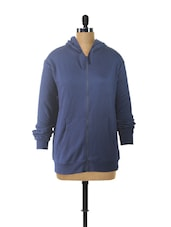 Blue Hooded Zip-Up Sweatshirt - Campus Sutra