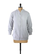 Grey Hooded Zip-Up Sweatshirt - Campus Sutra