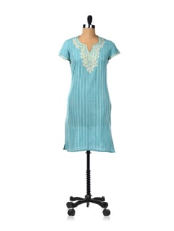 Striped Aqua Kurta With Embroidered Neck - Cotton Curio