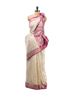 White And Rose Paisley Saree With Zari Work - Bunkar