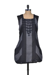 Black And Grey Kurti - STRI