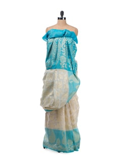 White And Blue Paisley Saree With Zari Work - Bunkar