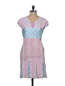 Pretty Pink And Blue Cotton Kurti - STRI