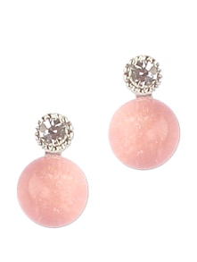 Round Pink Resin Stone And Crystal Stud Earring - Addons