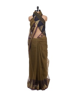 Banarasi Saree With Zari Temple Border - Bunkar