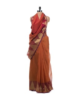 Pink Banarasi Saree With Zari Temple Border - Bunkar