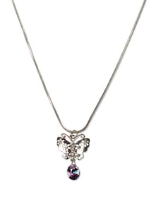 Silver Butterfly Drop Pendant Necklace - Addons