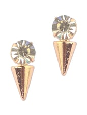 Cone Shape White Crystal Stud Earrings - Addons