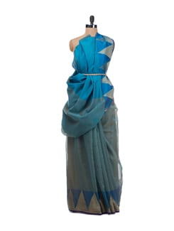 Blue Banarasi Saree With Zari Temple Border - Bunkar