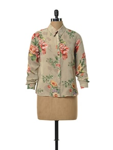 Sheer Floral Shirt - TREND SHOP