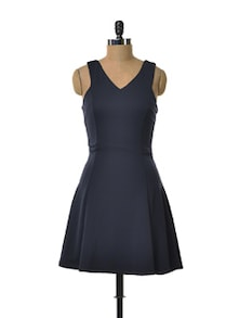 Zippered Navy Dress - TREND SHOP