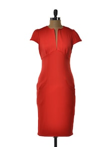 Plunging Scarlet Dress - TREND SHOP