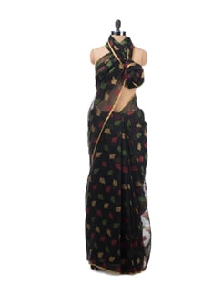 Black Saree With Resham Woven Leaves - Bunkar