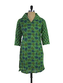 Printed Cotton Kurti In Green - Purab Paschim