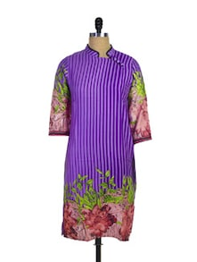Striped Purple Kurti With Floral Details - Purab Paschim