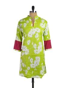Lime Green Floral Kurti - Purab Paschim