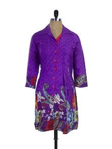Purple Printed Cotton Kurti - Purab Paschim