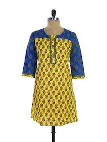 Yellow Print Kurta With Royal Blue Sleeves - Purab Paschim