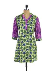 Green & Purple Floral Kurti - Purab Paschim