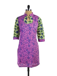 Colourful Cotton Kurti In Feminine Florals - Purab Paschim