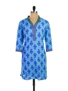 Turquoise Cotton Kurti - Purab Paschim
