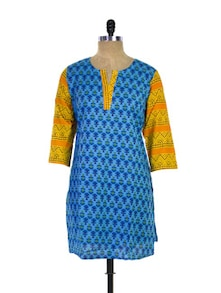 Royal Blue Kurti With Mustard Sleeves - Purab Paschim