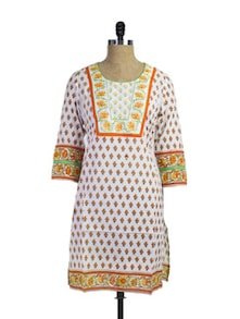 Orange And White Printed Kurti - Gaurangi