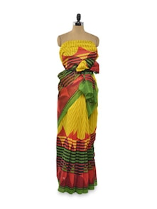 Zig Zag Striped Saree In Yellow - Purple Oyster