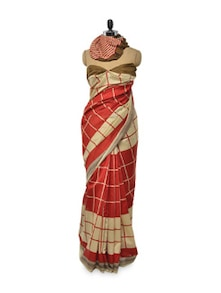 Beautiful Red And Beige Saree - Awesome