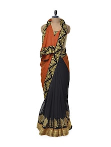 Decadent Zari Work Saree In Orange & Black - Get Style At Home