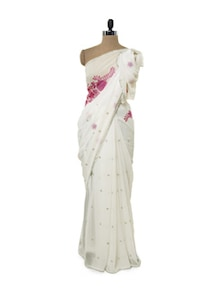 Floral White Georgette Saree - Get Style At Home