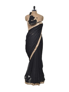 Black Georgette Saree In Gold Border - Get Style At Home