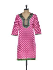 Pretty In Pink Cotton Kurti - ETHNIC