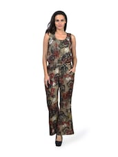 Printed Brown Poly Crepe Jumpsuit - HERMOSEAR