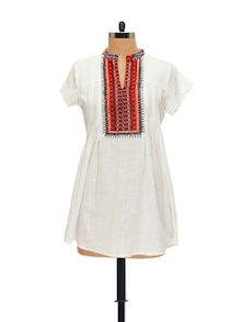 Ethnic White & Orange Printed Kurti - Global Desi