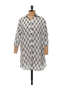 White & Black Printed Tunic - AND