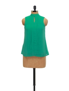 Elegant Green Pleated Top - AND
